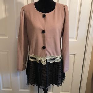 {Anthropologie} A' reve Jacket w/Lace Skirt Bottom